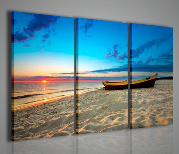 Quadri Moderni-Quadri di Natura e Paesaggi-Boat at Sunset ...
