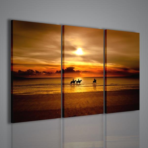 Quadri moderni su tela cavalli al tramonto 120x90cm for Stampe arredo casa