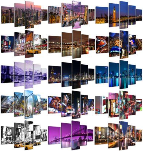 Quadri Moderni su tela 200x90cm Composizione 5pz. Città New York, Times Square, Miami, Londra